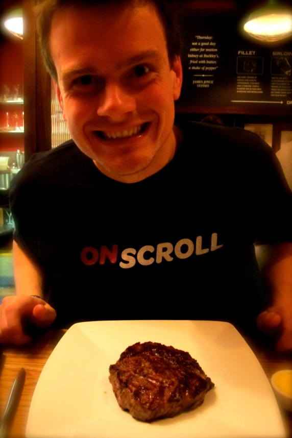 Just a little excited about his ribeye